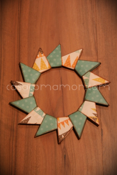 guirlanda, origami, papel, scrapbook, tutorial, passo a passo, diy, how to, wreath, paper